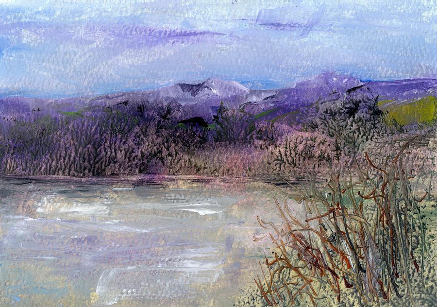 Purple Painting - Moorland View 1 by Carol Rowland