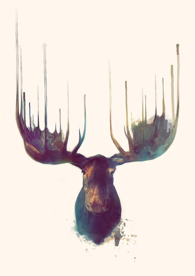 Moose Painting - Moose by Amy Hamilton