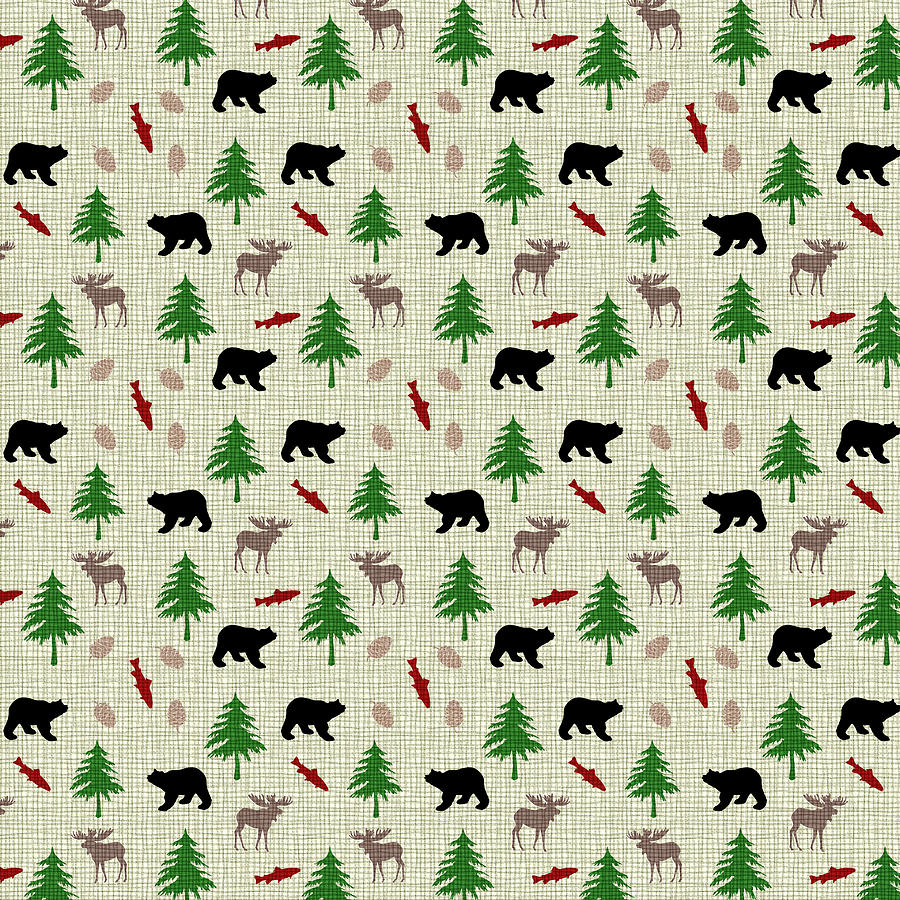 Moose And Bear Pattern Mixed Media By Christina Rollo