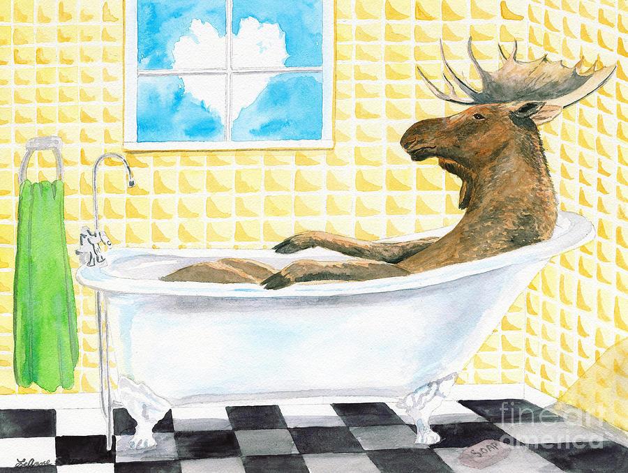 Moose Painting - Moose Bath by LeAnne Sowa