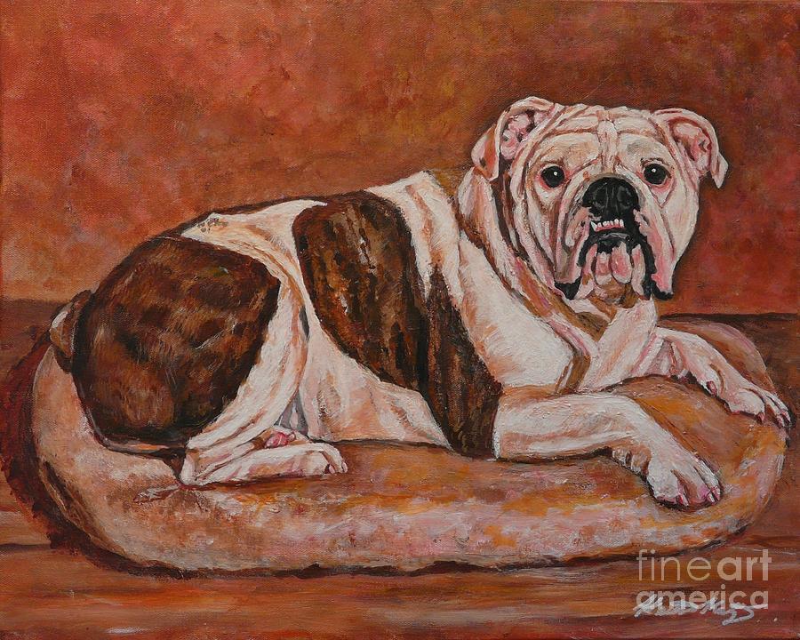 Dog Painting - Moose-english Bull Dog by Heather Kertzer
