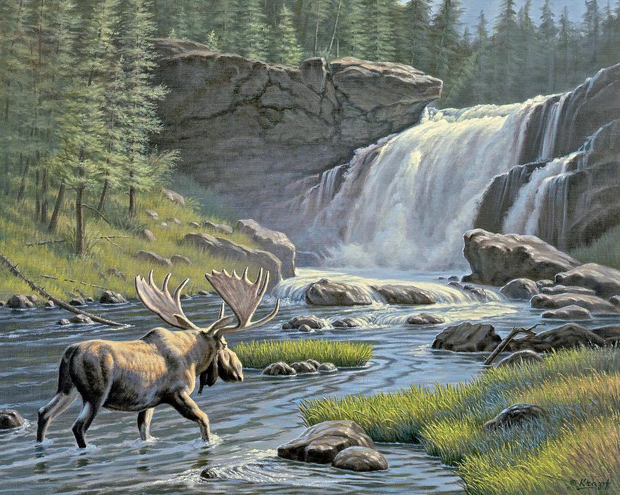 Wildlife Painting - Moose Falls by Paul Krapf