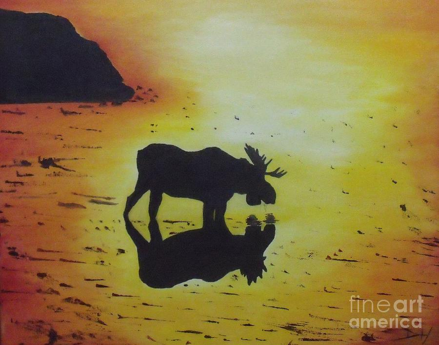 Animals Painting - Moose In The Sunset by Debra Piro