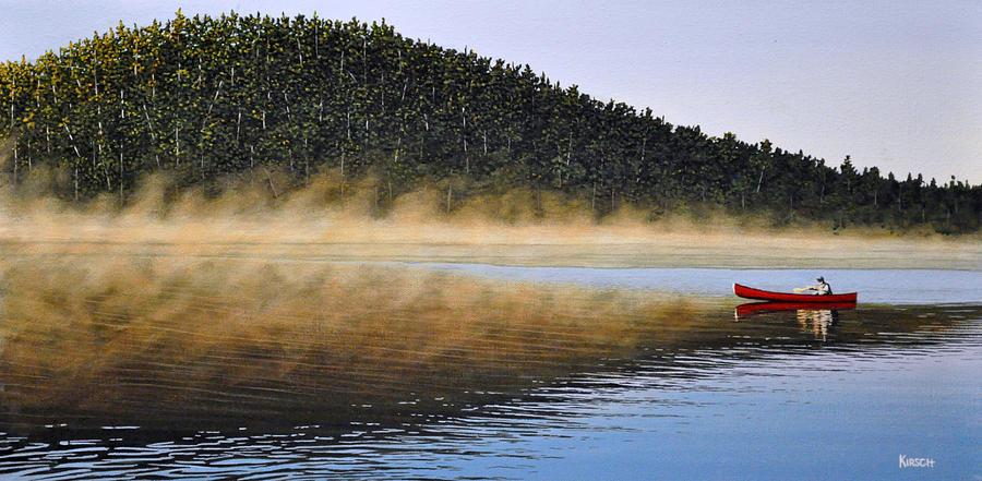 Lake Painting - Moose Lake Paddle by Kenneth M  Kirsch