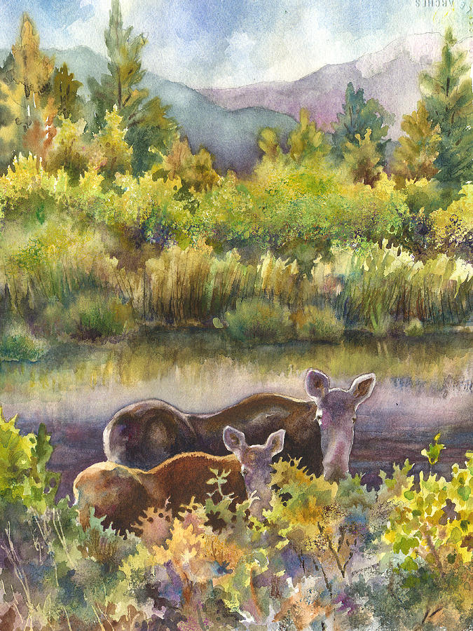 Moose And Calf Painting Painting - Moose Magic by Anne Gifford