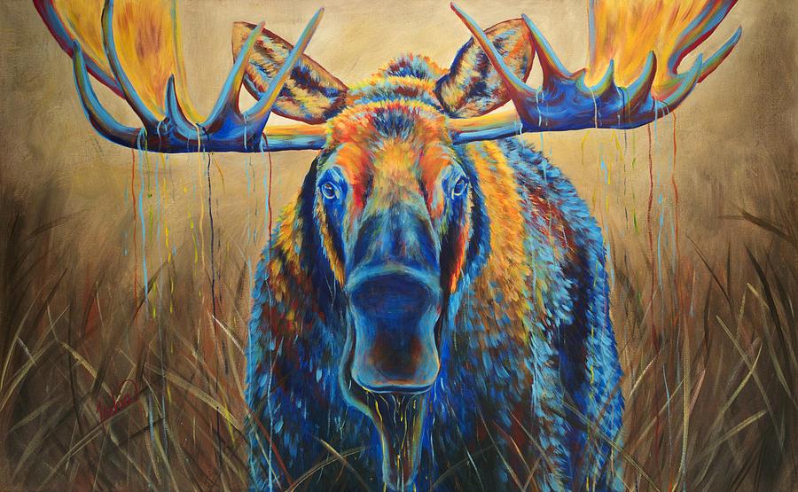 Moose Painting - Moose Marsh by Teshia Art