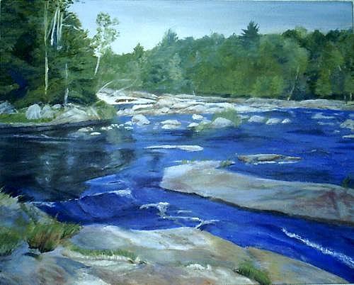 Moose River Painting - Moose River Lyons Falls by Sheila Mashaw