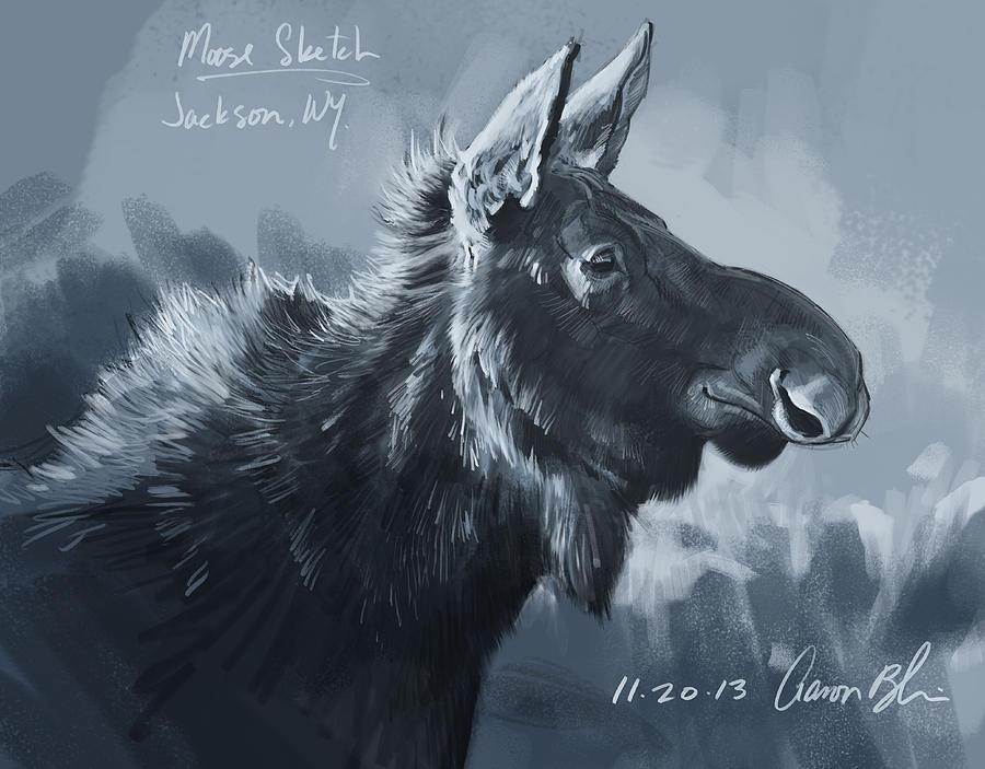 Moose Digital Art - Moose Sketch by Aaron Blaise