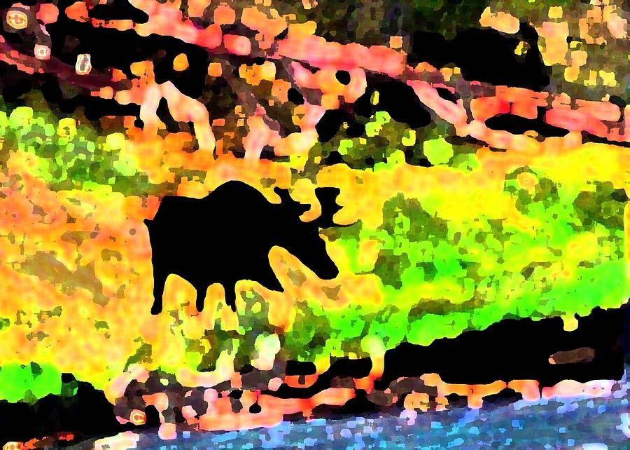 Digital Digital Art - Moose Strolling Along The River Bank by Dane Ann Smith Johnsen