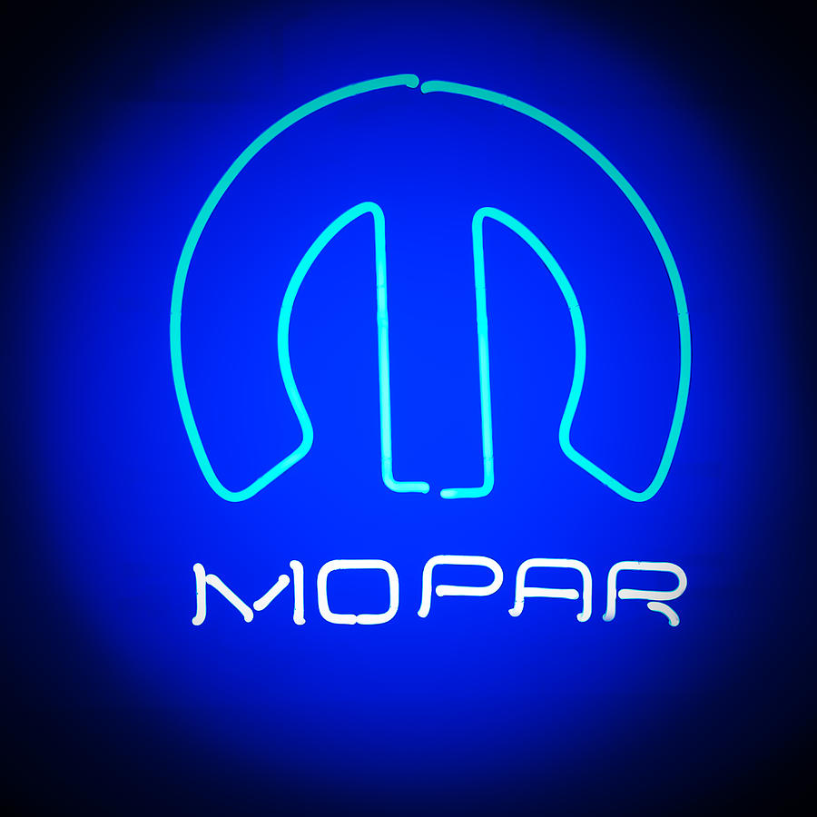Muscle Cars Photograph - Mopar Neon Sign by Jill Reger