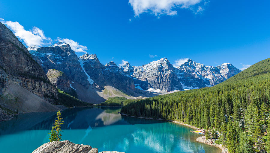 Color Image Photograph - Moraine Lake At Banff National Park by Panoramic Images