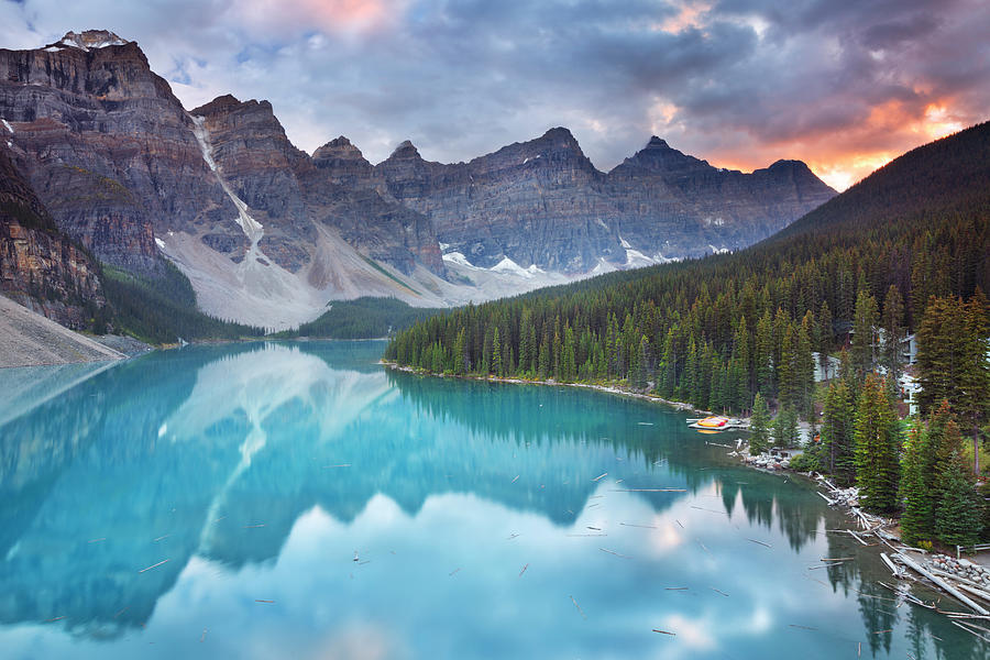 Moraine Lake At Sunrise, Banff National Photograph by Sara winter