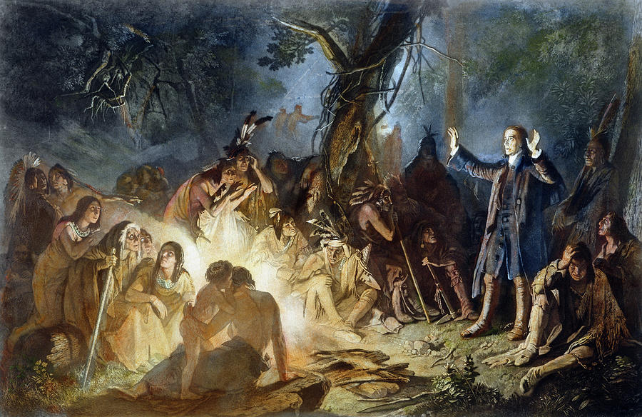 13 Colonies Painting - Moravian Missionary by Granger