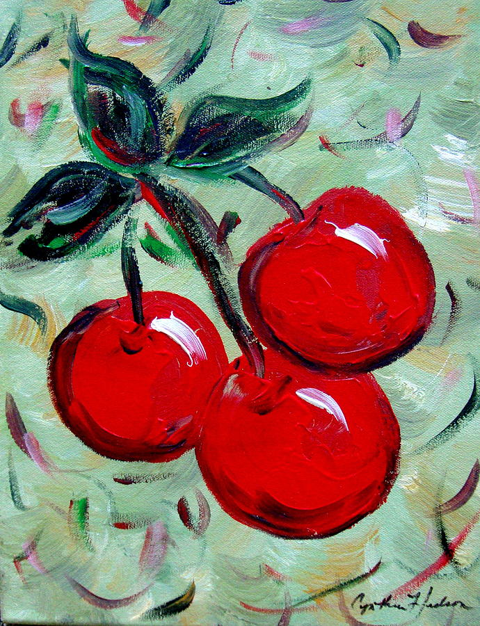 Cherries Painting - More Cherries by Cynthia Hudson