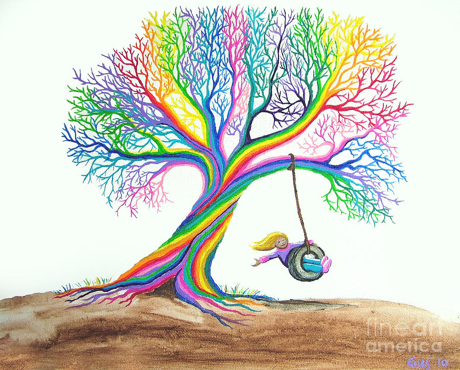 Enchanted Tree Of Rainbows Painting - More Rainbow Tree Dreams by Nick Gustafson