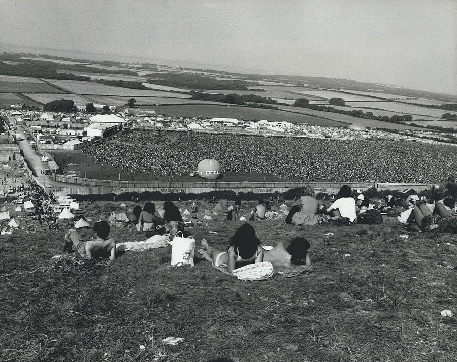 Retro Photograph - More Than 100,000 Fans Attend The Isle Of Wight Pop by Retro Images Archive