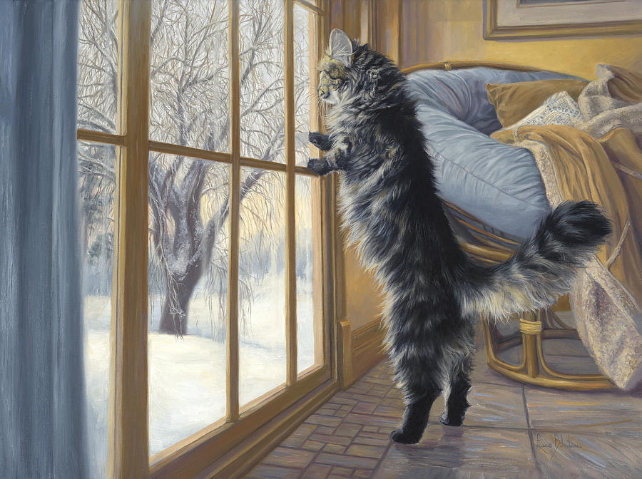 Cat Painting - Morning After by Lucie Bilodeau