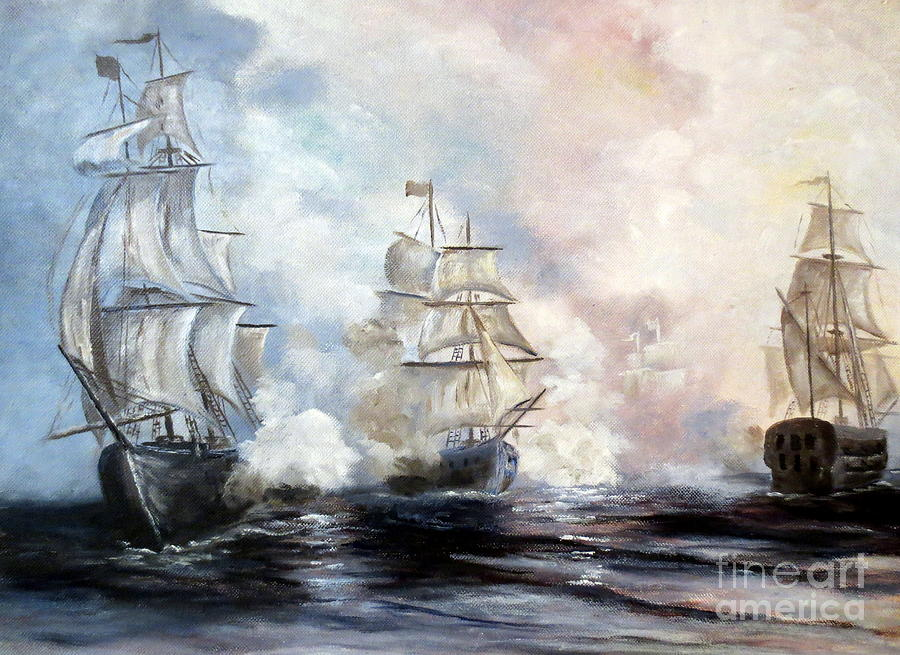 Sailing Ships Painting - Morning Battle by Lee Piper