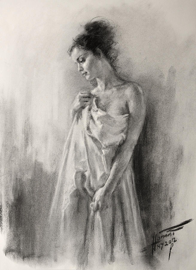 Young Girl Drawing - Morning Beauty  by Ylli Haruni
