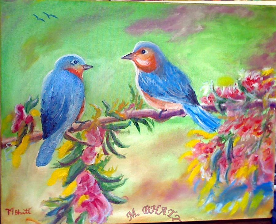 Birds Painting - Morning Birds by M Bhatt