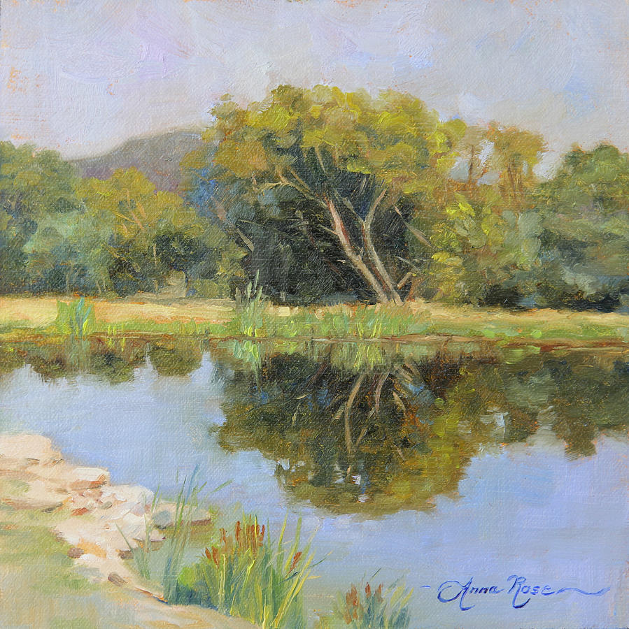 Landscape Painting - Morning Calm in Texas Summer by Anna Rose Bain