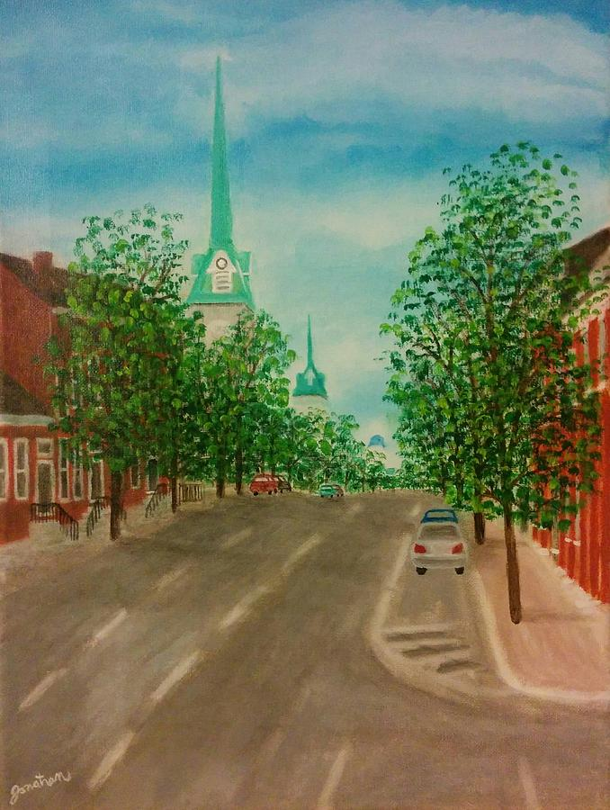 Morning Coffee in Fredericksburg Painting by Jonathan Morgan