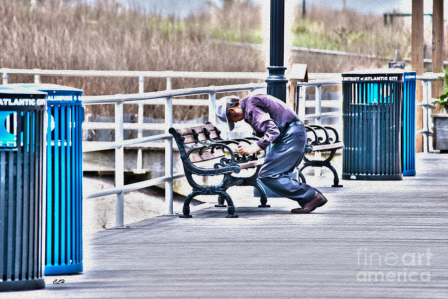 Garbage Cans Photograph - Morning Exercise On The Boardwalk by Crystal Harman