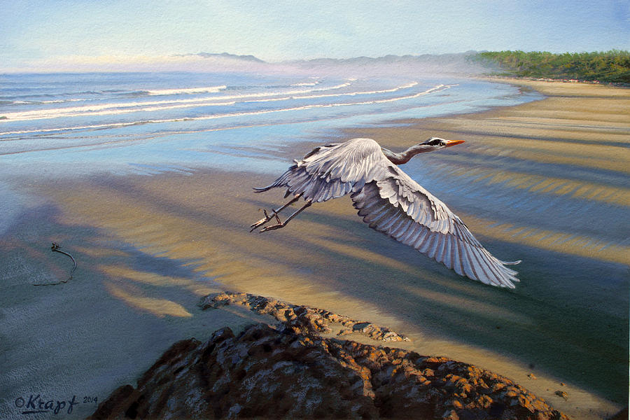 Wildlife Painting - Morning Fight-blue Heron by Paul Krapf