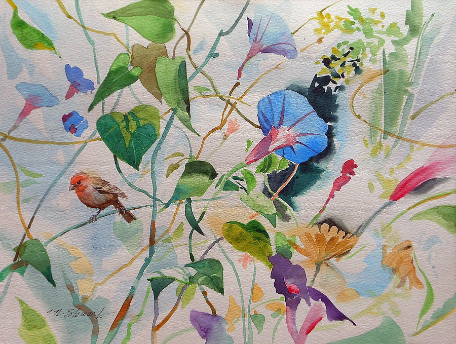 Morning Glories with a Bird by John Norman Stewart