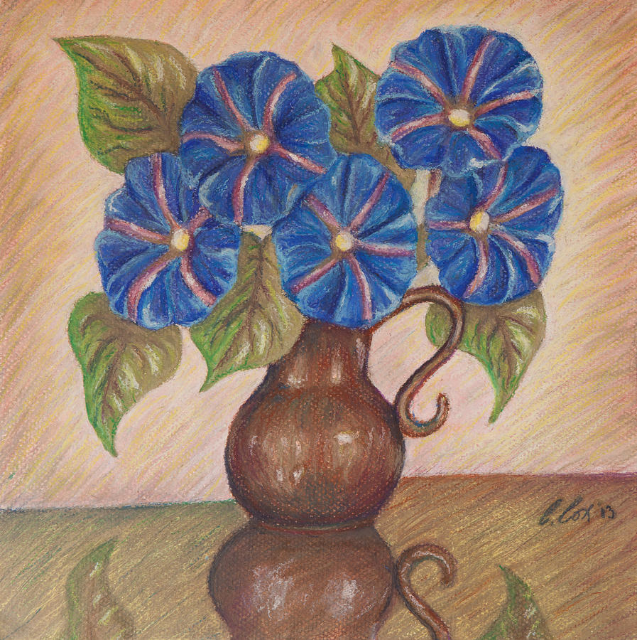 Mother's Day Painting - Morning Glories With Pink Background by Claudia Cox