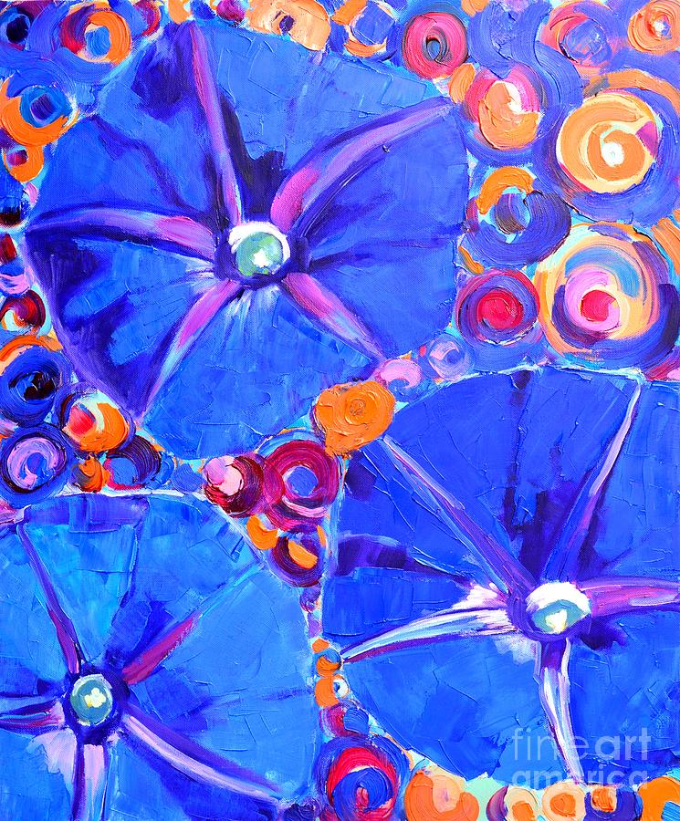 Morning Painting - Morning Glory Flowers by Ana Maria Edulescu