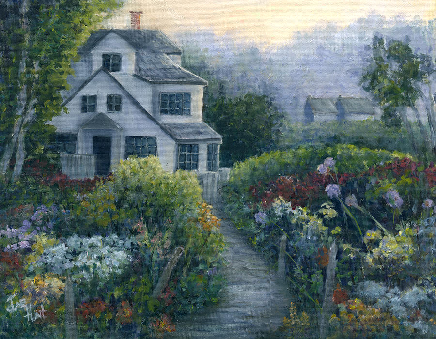 Landscape Painting - Morning In A Maine Garden by June Hunt