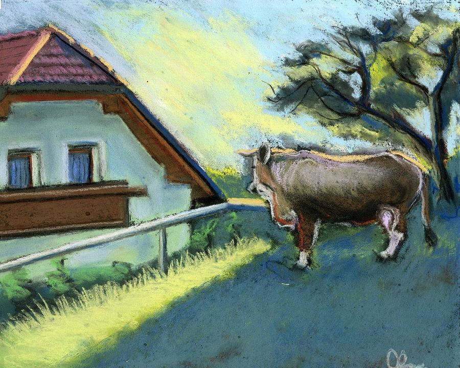 Cow Pastel - Morning In Kamnik Alps by Lelia Sorokina