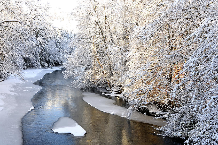 West Virginia Photograph - Morning Light Fresh Snowfall Gauley River by Thomas R Fletcher