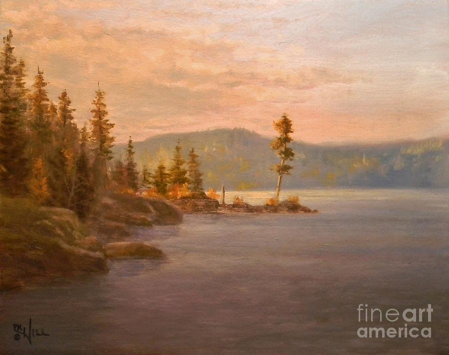 Coeur D'alene Painting - Morning Light On Coeur Dalene by Paul K Hill