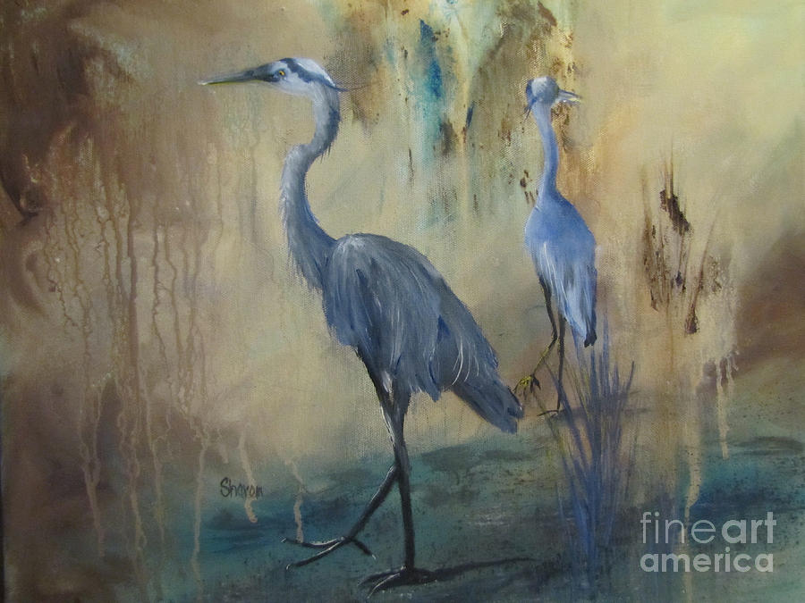 Heron Painting - Morning Light by Sharon Burger