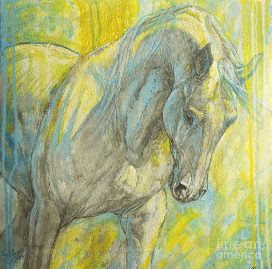 Horse Painting - Morning Light by Silvana Gabudean Dobre