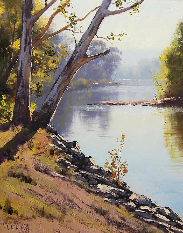 River Painting - Morning Light Tumut River by Graham Gercken