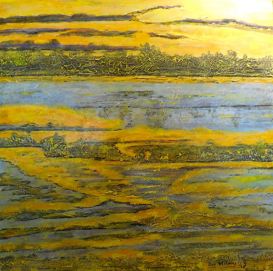 Orange Painting - Morning Sun On The Marsh by Don Williams