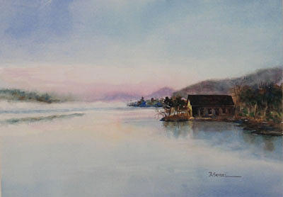 Water Painting - Morning Mist by Barbara Seibel