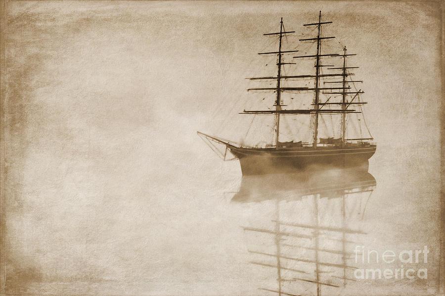 Sailing Ship Digital Art - Morning Mist In Sepia by John Edwards
