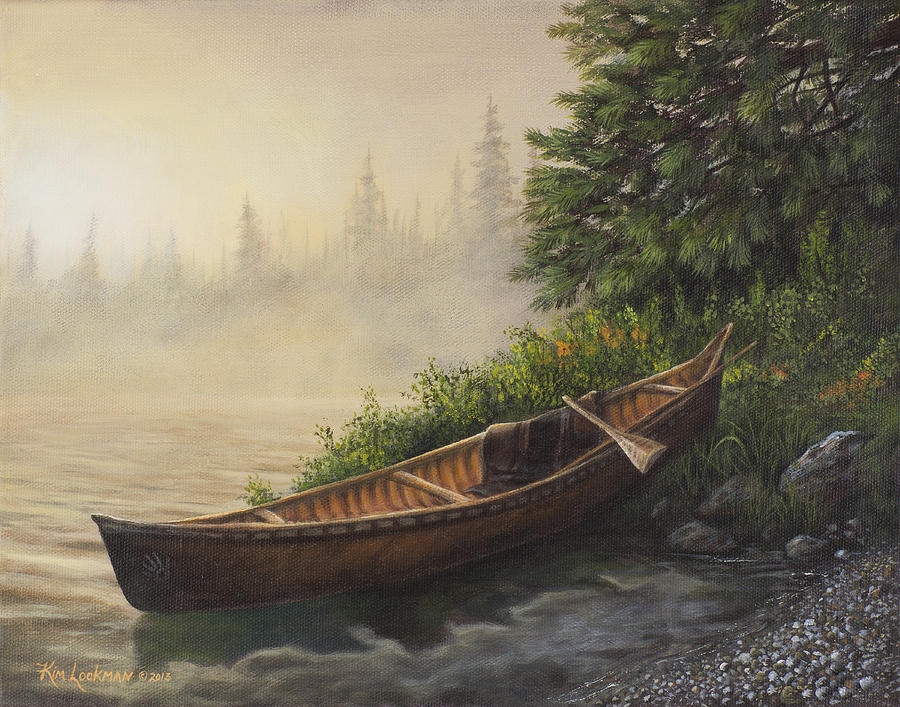 Canoe Painting - Morning Mist by Kim Lockman