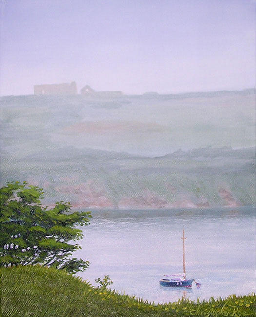 Landscape Painting - Morning Mist Kinsale-sold by Christopher Roe
