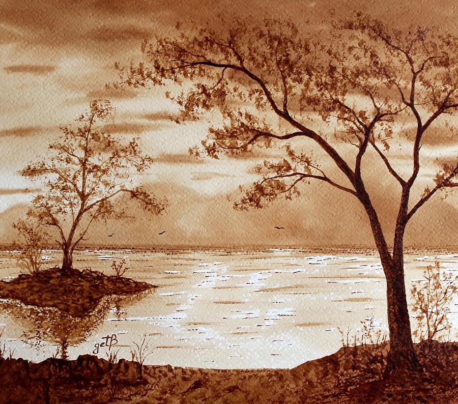 Morning mountain lake original coffee painting painting by for Painting with coffee