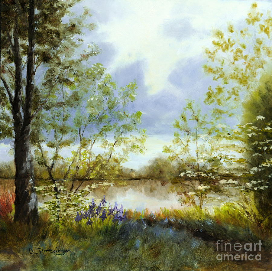 Delaware River Painting - Rivers Edge by Paint Box Studio