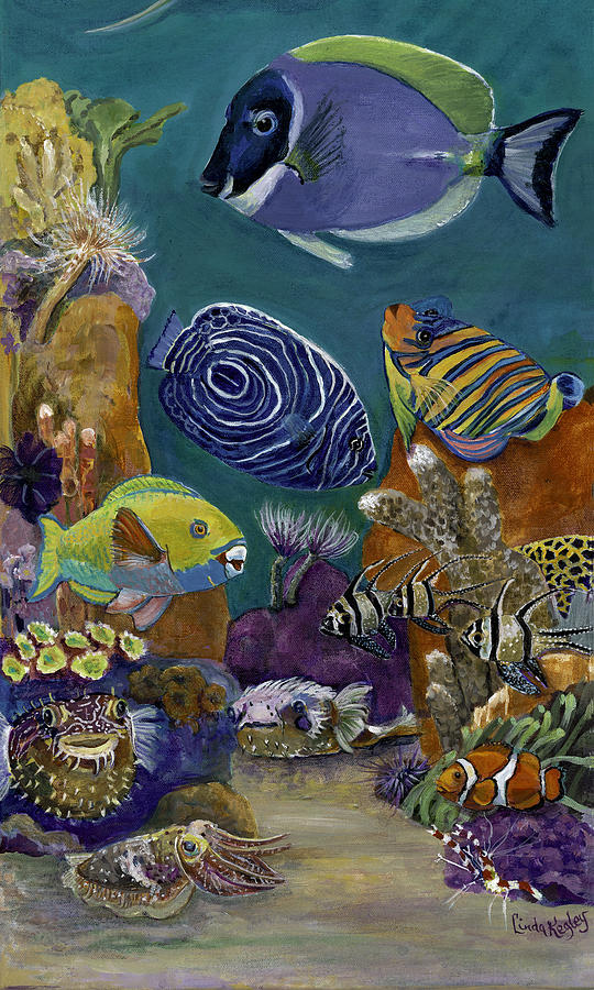 Coral Reef Painting - Morning On The Reef by Linda Kegley