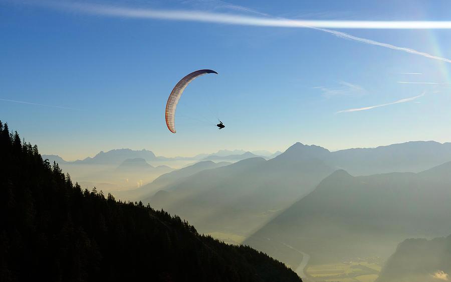 Morning Paragliding Flight Photograph by Mario Eder