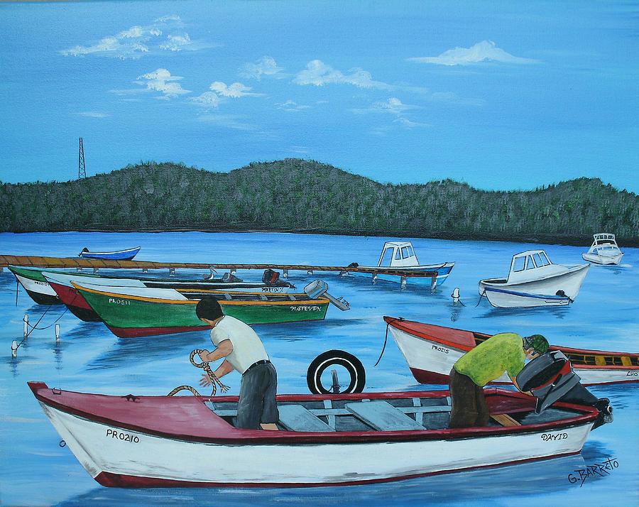 Morning Ritual Painting by Gloria E Barreto-Rodriguez