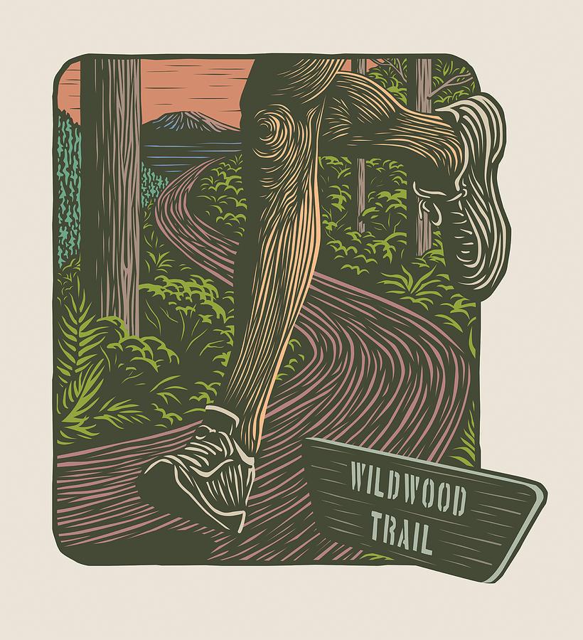 Wildwood Trail Digital Art - Morning Run On The Wildwood Trail by Mitch Frey