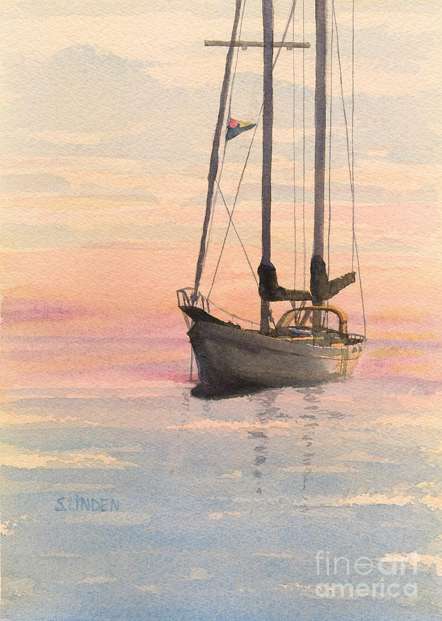 Boats Painting - Morning by Sandy Linden